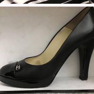 Chanel black leather with patent leather trim
